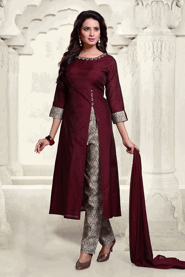 Shop Aishwarya Design Studio Designer salwar kameez Suit -  churidar Salwar suit online - Be a fashionista flaunting this unique wine suit in art silk falling plain all over, neckline & start of side-front slit featuring bead work in square motifs in an artistic design, sleeve ends bearing brocade fabric same as the pants! Club with delicate earrings & pumps for a complete celeb look. This suit comes with matching brocade straight cut pants & chiffon dupatta.