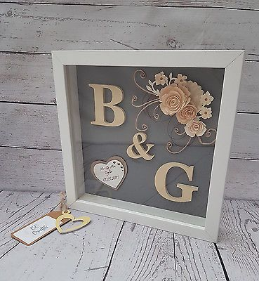 Personalised Wedding , Engagement, Anniversary Framed Gift Keepsake Gold