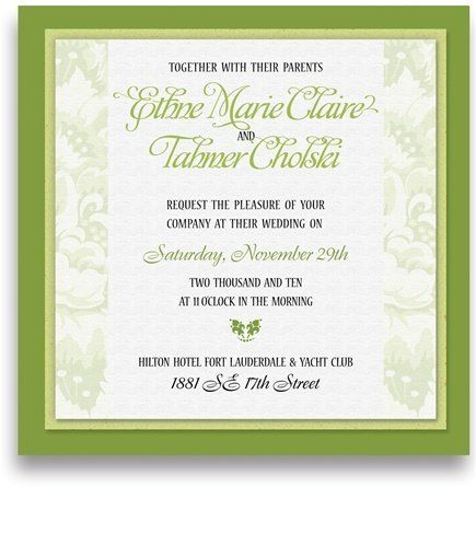 220 Square Wedding Invitations - Lime & Green Floral Jubilee by WeddingPaperMasters.com. $561.00. Now you can have it all! We have created, at incredible prices & outstanding quality, more than 300 gorgeous collections consisting of over 6000 beautiful pieces that are perfectly coordinated together to capture your vision without compromise. No more mixing and matching or having to compromise your look. We can provide you with one piece or an entire collection in a one stop sh...