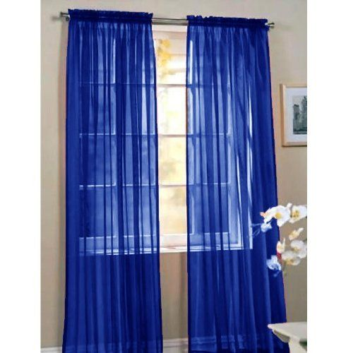 Pair Of Navy Blue Sheer Panel Window Treatment Curtains By