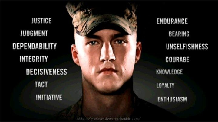 Marine Corps. Rank | Rifleman's Creed | 11 General orders for the Sentry |Marine Corps Core Values | The Marine's Hymn | 14 USMC Leadership Traits