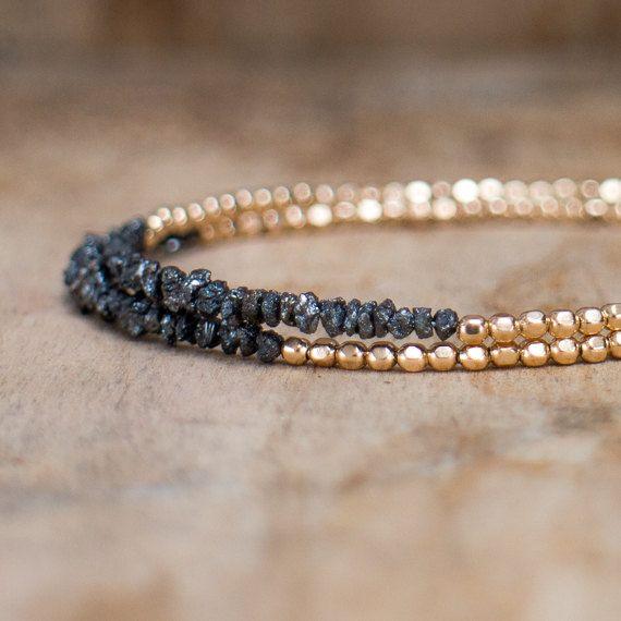 Diamante braccialetto bracciale nero diamante grezzo