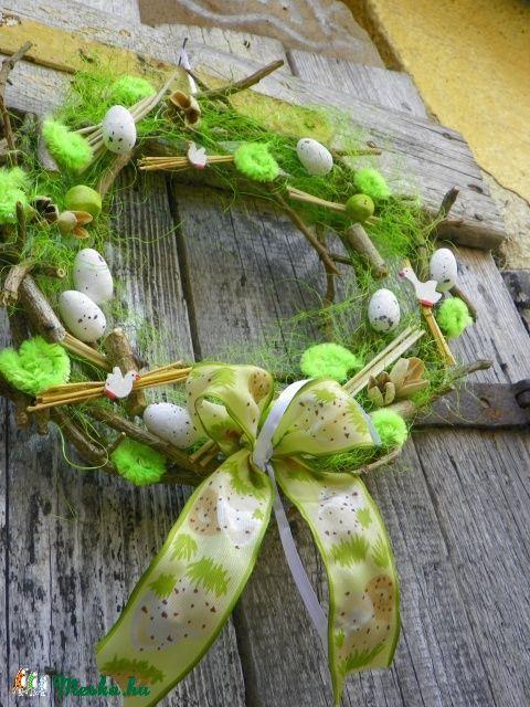 Nyuszi ül a fűben...tavaszi,húsvéti ajtódísz,kopogtató,koszorú (galamb70) - Meska.hu
