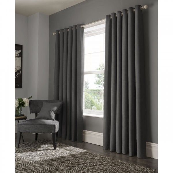 Elba Lined Ready Made Eyelet Ring Top Plain Textured Curtains by Studio G | 365curtains.com