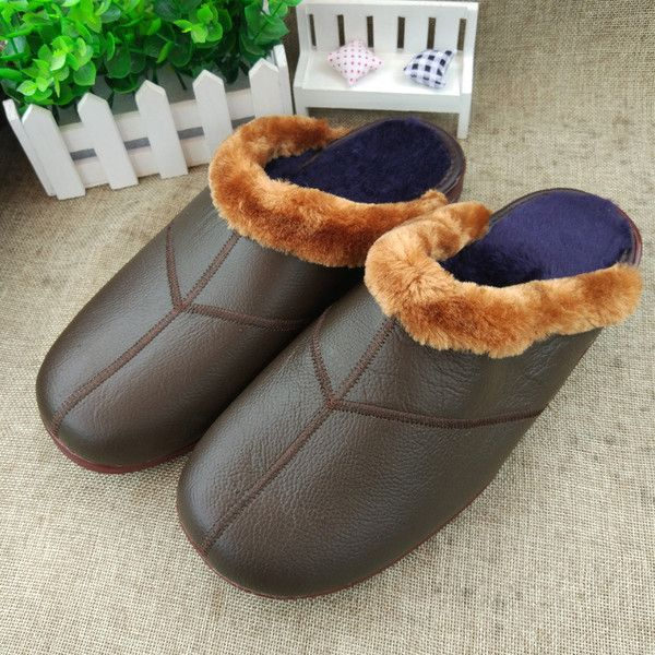 's Leather Waterproof Soft Sole Non-slip Warm Fur Lining Slippers ($17) ❤ liked on Polyvore featuring men's fashion, men's shoes, men's slippers, mens slip on shoes, mens leather slip on shoes, mens leather shoes, mens woven leather slip-on shoes and mens leather slippers