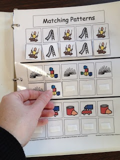 matching patterns pages in a binder...great for kids with autism.