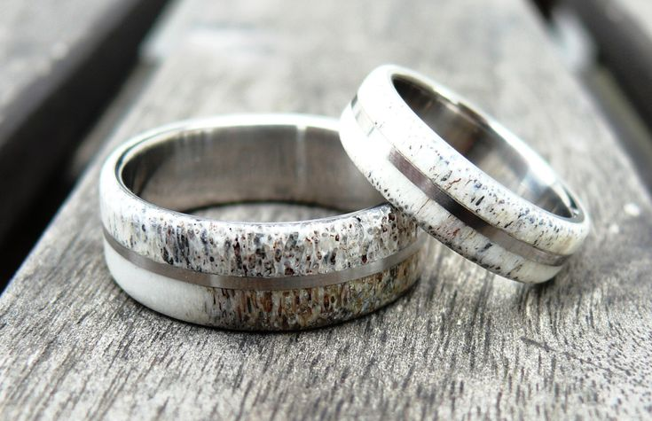 Titanium and Deer Antler Wedding Band Set, Wedding Ring, Titanium Ring, Bone Ring, Deer Antler Ring, with Engraving by RingWithHeart on Etsy https://www.etsy.com/listing/472234505/titanium-and-deer-antler-wedding-band