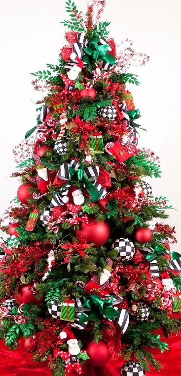 123 best christmas tree ideas images on pinterest xmas Red white christmas tree
