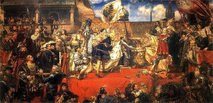 Albert of Brandenburg and his brothers receive the Duchy of Prussia as a fief from Polish King Sigismund I the Old, 1525. Painting by Jan Matejko, 1882. Sigismund had been invested as Duke of Silesia. A successful monarch and a great patron of arts, he established Polish suzerainty over Ducal Prussia (East Prussia) and incorporated the duchy of Mazovia into the Polish state, securing the nation's wealth, culture and power.