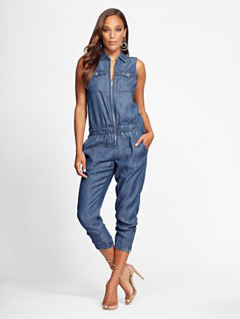 e4525d7268d Shop Gabrielle Union Collection - Ultra-Soft Chambray Jumpsuit. Find your  perfect size online at the best price at New York   Company.