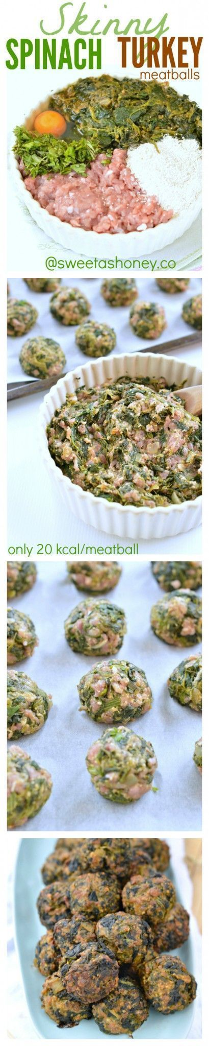 Spinach Turkey Meatballs a perfect clean eating appetizer. Skinny meatballs recipe with only 20 kcal/meatballs and only wholesome ingredients. Gluten free meatballs and dairy free meatballs too!