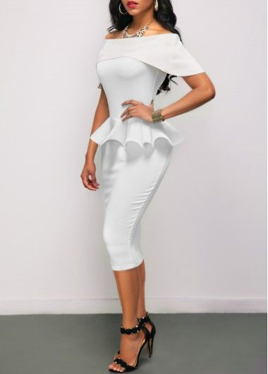 Boat Neck Fold Over Flouncing White Sheath Dress on sale only US$25.44 now, buy cheap Boat Neck Fold Over Flouncing White Sheath Dress at liligal.com