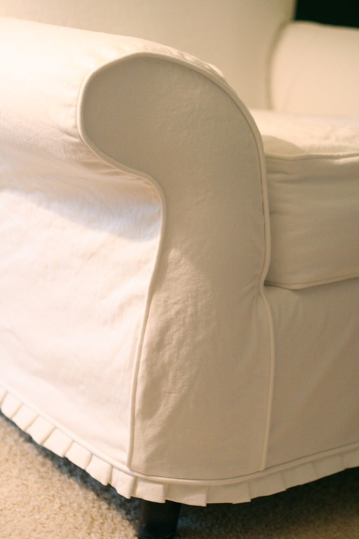 "Custom Slipcovers by Shelley: White denim chair with 1"" pleat ruffle"