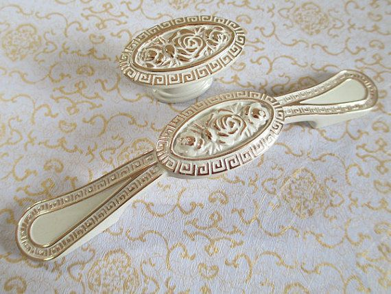 Dresser Pull Drawer Pulls Handles Knobs White Gold Flower Shabby Chic Kitchen Cabinet Handle Pull Knob