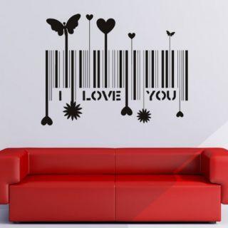 Наклейка по тематике от 2stick.ru Я тебя люблю I love you бабочки