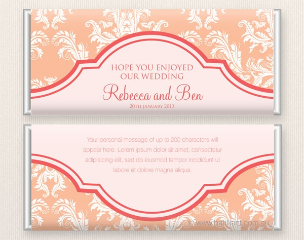 Personalised wedding chocolate bar www.barilliant.com.au #chocolate #bar #wedding #gorgeous #wedding #candy #favours #chocolate #cake #beautiful #sweet #bonbonniere #treat #gift #bridal #shower #barilliant