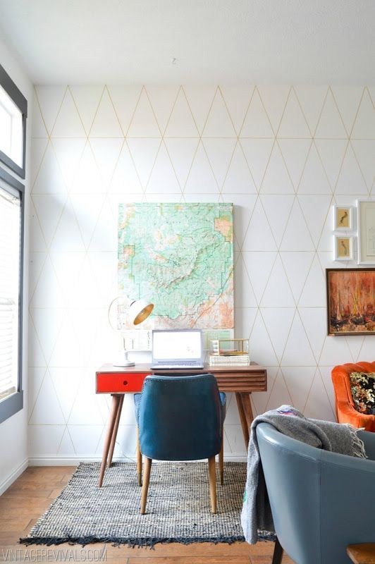 Geometric Wall Living Room Makeover @ Vintage Revivals: Wall Living, Wall Pattern, Living Rooms, Workspace, Livingroom, Living Room Makeovers, Vintage Revivals, Geometric Wall, Diy