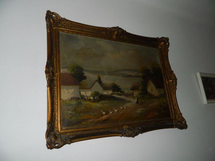 Falusi Életkép - blondel keretben : Gábor H. Lajos - Festmény | Galéria Savaria online piactér - Antik, műtárgy, régiség vásárlás és eladás