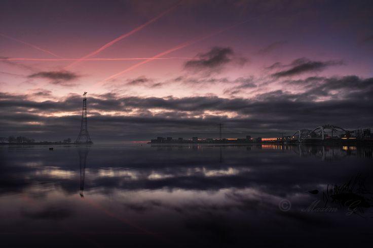#IJburg #maximg_photography #fog #amsterdam #ijsselmeer #sunrise #landscape #bridge #architecture
