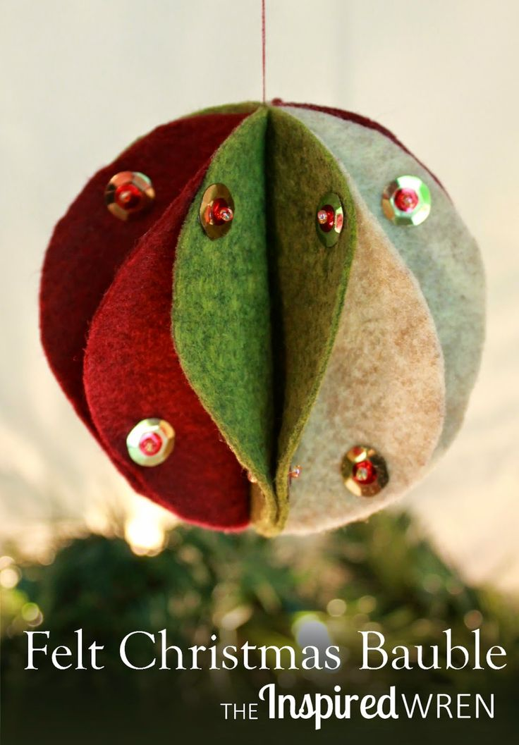Felt Christmas Bauble Tutorial: Make it with thread or hot glue.   The Inspired Wren