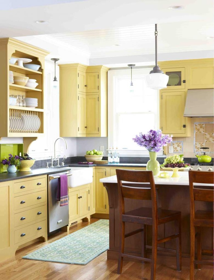 12 best images about yellow kitchen islands on pinterest for Country kitchen paint colors