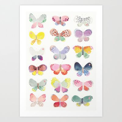Painted butterflies  Art Print by Studio Sjoesjoe | Society6