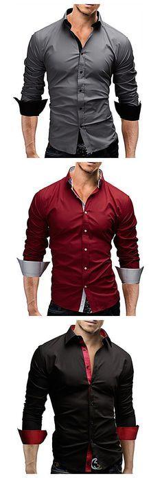 Son los camisas para la ropa formal.  Las mangas son hasta.  Sone de colores gris, rojo, y negro.
