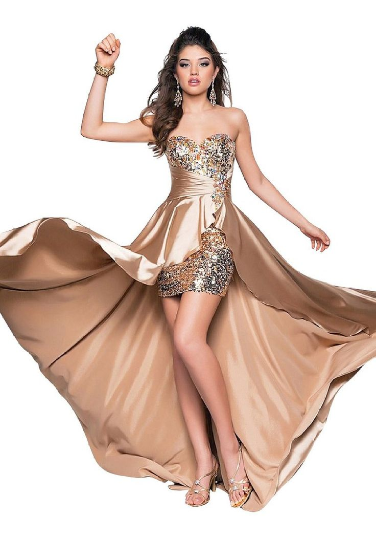 Beauty-Emily Pailletten Strapls Strass Openside Cocktailparty-Kleider Lange formale Abendkleider Farbe Champagne, Größe 42: Amazon.de: Bekleidung