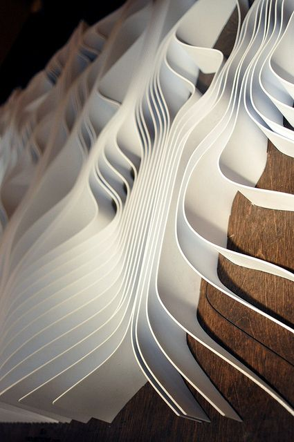 this isn't recycled, but i think i finally found a perfect use for of all those plastic strips from my spare window blinds rather than just trashing them. form. canvas. waves. wavey. white. ripple.   RP » the powers of parametric design
