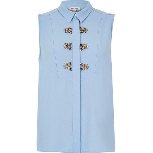River Island Light blue embellished sleeveless blouse ($70) ❤ liked on Polyvore featuring tops, blouses, shirts, blue, sleeveless blouse, river island, sleeveless tops, light blue shirt and blue shirt