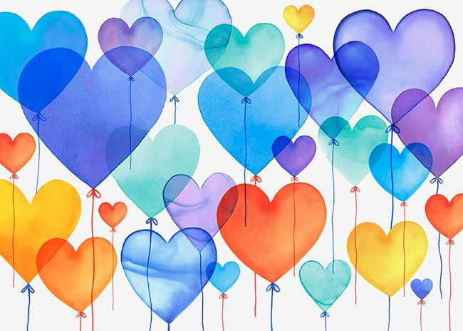 Margaret Berg Art: Blue Birthday Heart Balloons