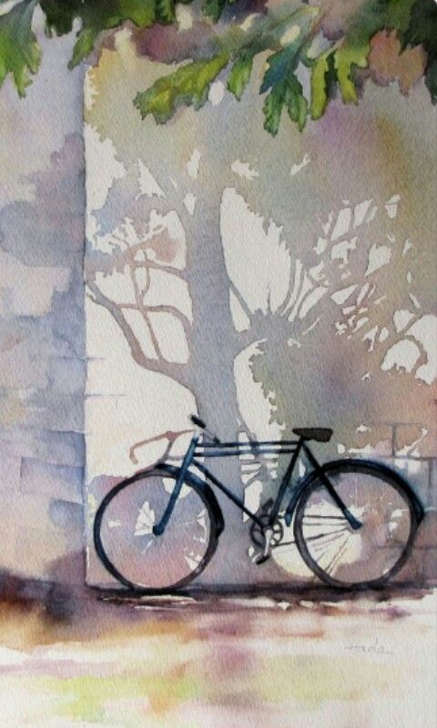 "Clara Hada (Shadows detail) watercolour. ""A clever and lovely interpretation around the central theme - the bicycle."" Thanks to May for sharing this pin. MAKETRAX.net - Bicycle ART"