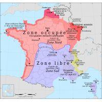 La carte de France pendant la seconde guerre mondiale