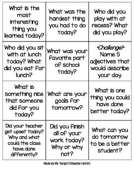 Print on colored paper, laminate, cut, and put in a cute jar!I use these to wrap up the day.I think it's a great way for students to self-reflect and build community among their classmates. I usually pick one or two cards and have students discuss with a partner or in a group.