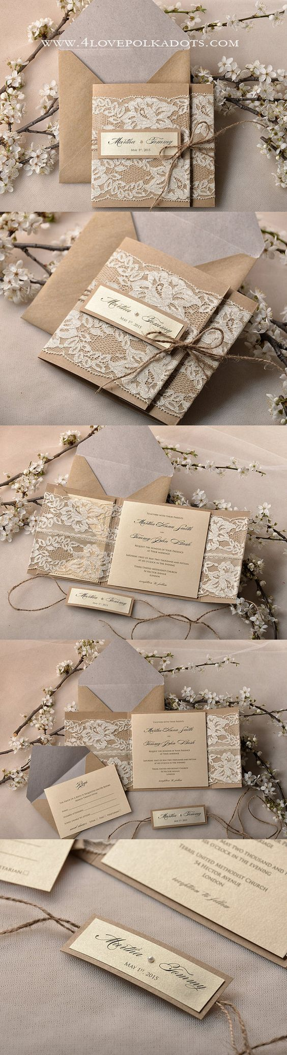 Rustic Lace Wedding Invitations  ||  @4LOVEPolkaDots