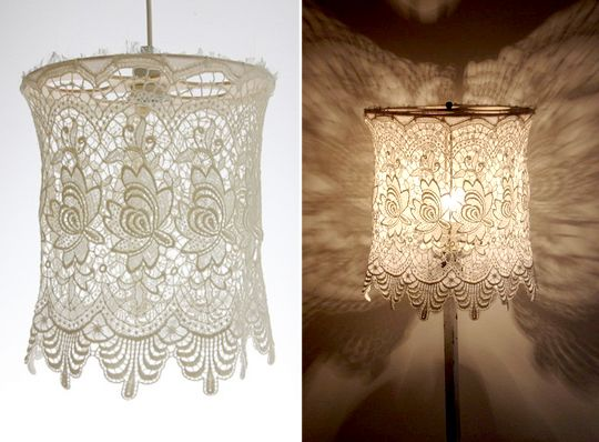 doileys on lampshade | Doilies and Lace Lampshades | Apartment Therapy