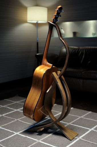 wooden guitar stand