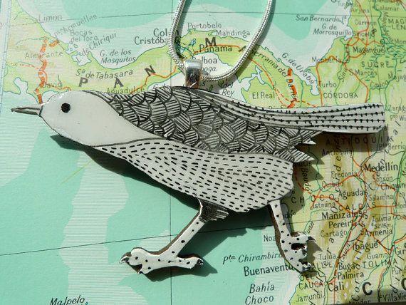 Wooden Bird Necklace  Cute, wooden laser cut Bird. Hand illustrated