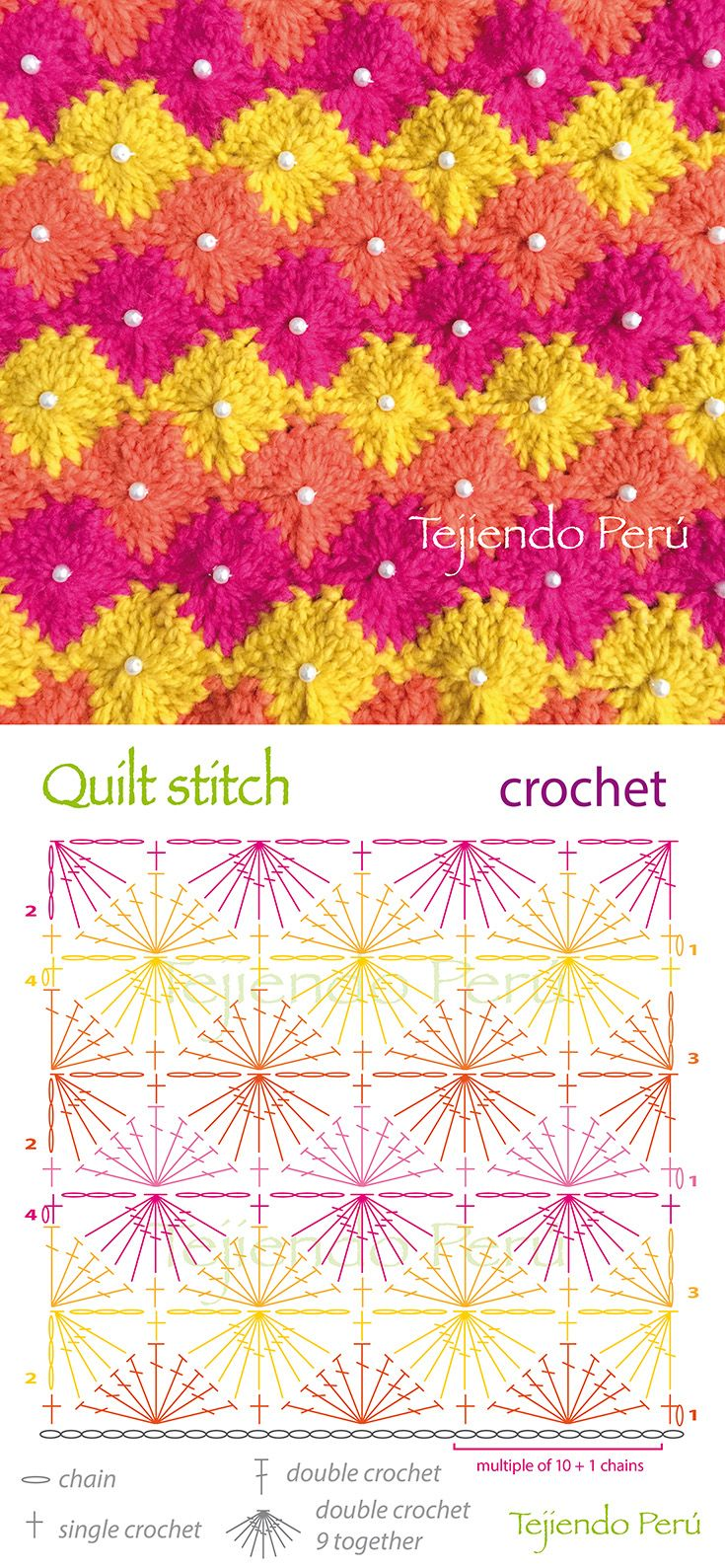 Crochet: quilt or diamond stitch diagram! we sewed a pearl in each diamond :)