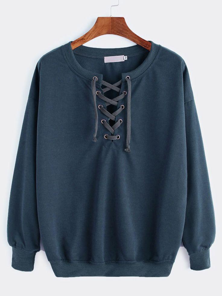 Shop Drop Shoulder Lace Up Sweatshirt online. SheIn offers Drop Shoulder Lace Up Sweatshirt & more to fit your fashionable needs.