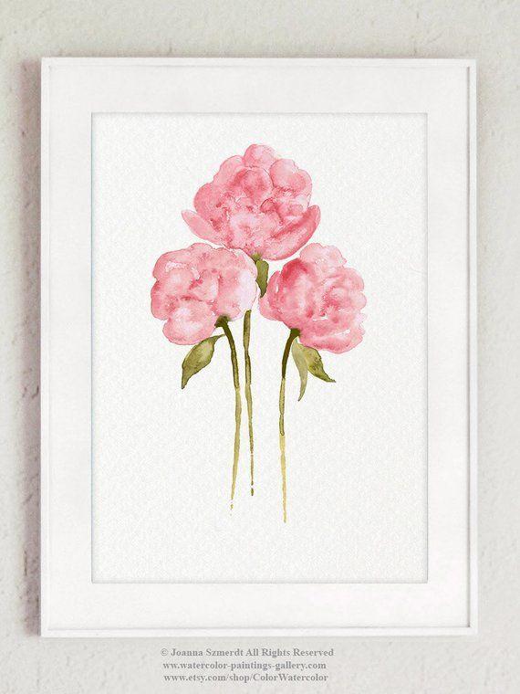 Pivoine Fleurs Bouquet Rose Fleur Vert Feuilles Aquarelle Peinture Colorée Idée Cadeau De Mariage Anniversaire Art Imprimer Mères Jour Illustration   – Ideas