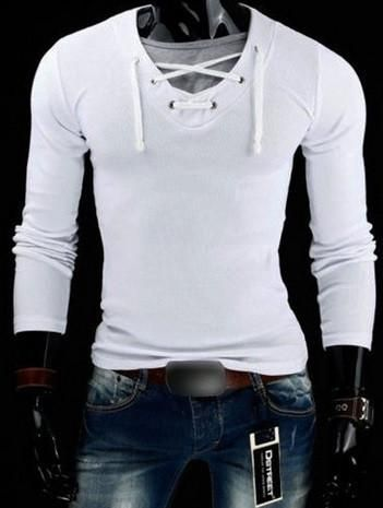 457107aed New Spring Hot Fashion Men Long Sleeve Solid V-neck T-shirt Male Cotton -  Hot100Fashions