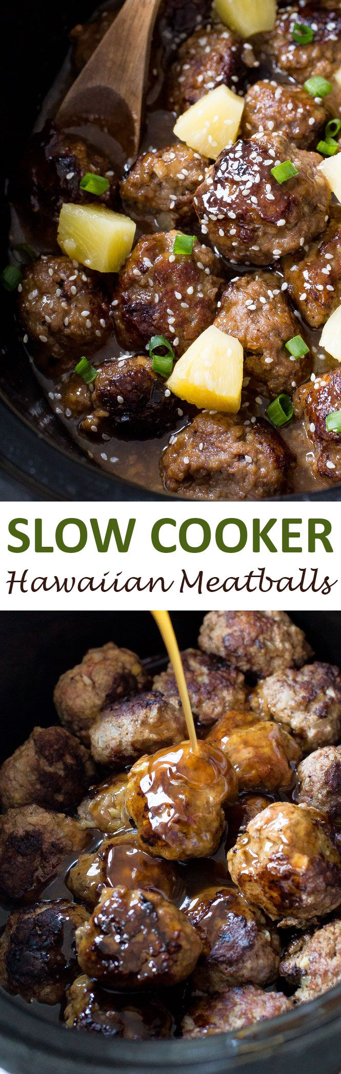 Slow Cooker Hawaiian Meatballs smothered in a sweet and sour sauce. They make a…