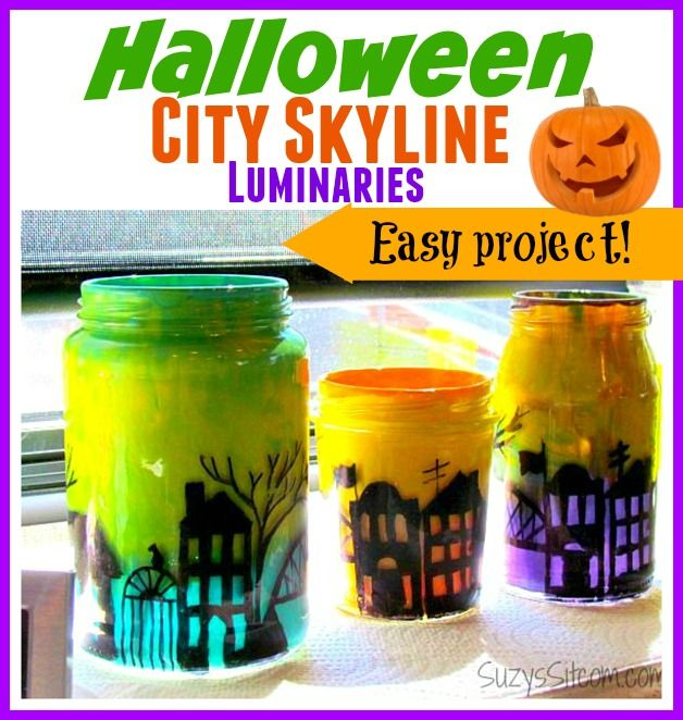 Easy to make Halloween city skyline luminaries.  Includes free pattern!
