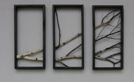Birch Branch Wall Hanging TriptychOriginal Art by MadeAtTheLake Maybe #micah and I could do this..