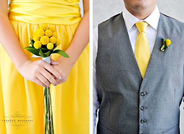The groomsmen will be renting their own vests and pants, and that will in turn get my fiance a free suit rental! The guys are wearing just vests with white shirts from Kohls underneath, and my fiance will wear the same thing, but with a jacket on top. Yellow ties and yellow handkerchiefs in the pocket to save money on boutenierres