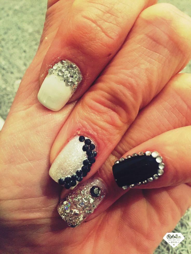 Party nails. Black-white-silver.