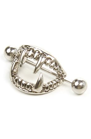 ☆ MKL Accessories Nipple Ring Shield Fangs in Silver ☆