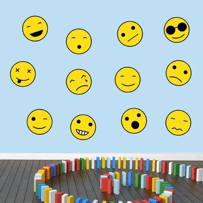 SweetumsWallDecals Emoji Smiley Faces Wall Decal Size: Medium