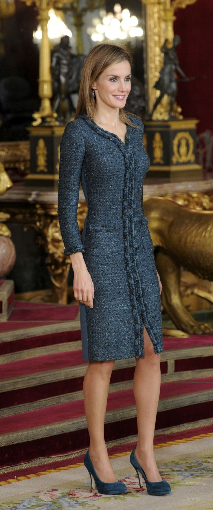 Who: Queen Letizia of Spain Wore: An elegant dark teal coatdress Where: Spain's National Day Royal Reception via @stylelist | http://aol.it/1wwHq0O